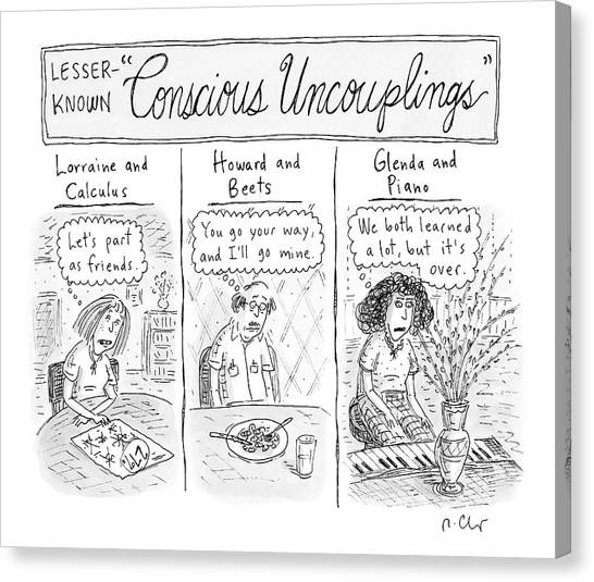 Coldplay Canvas Print - Lesser-known 'conscious Uncouplings Three Panels by Roz Chast