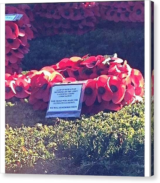 Wreath Canvas Print - Lest We Forget #poppy #wreath 11/11 by Baz Twyman