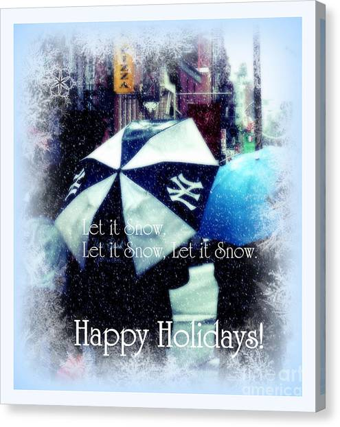 Let It Snow - Happy Holidays - Ny Yankees Holiday Cards Canvas Print