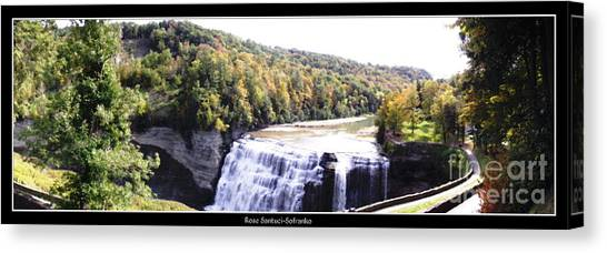 Canvas Print featuring the photograph Letchworth State Park Middle Falls Panorama by Rose Santuci-Sofranko