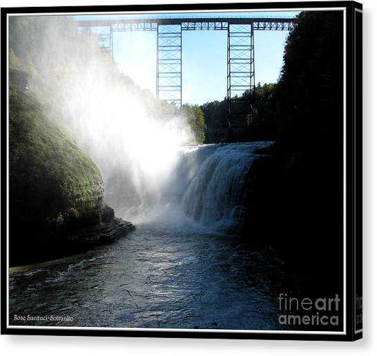 Letchworth State Park Upper Falls And Railroad Trestle Canvas Print