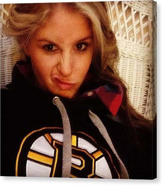 Hockey Teams Canvas Print - Let's Go Bs #bruins #game #love #happy by Lisa Murphy