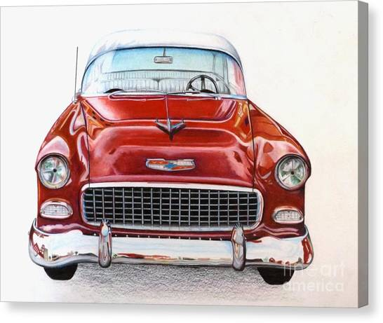 Classic Car Drawings Canvas Print - Let's Go For A Ride by David Neace