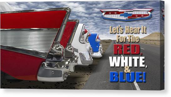 Street Rods Canvas Print - Lets Hear It For The Red White And Blue by Mike McGlothlen