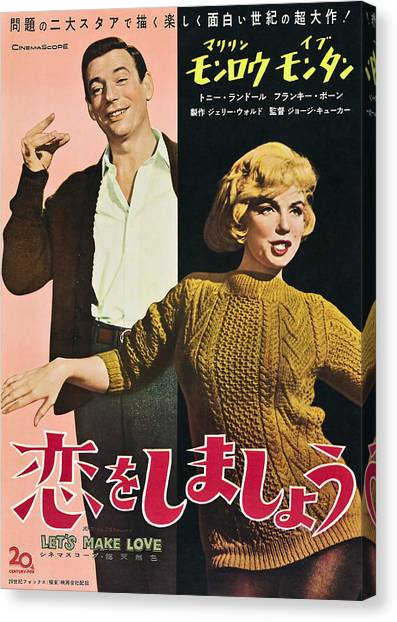 Foreign Ad Art Canvas Print - Lets Make Love, From Left Yves Montand by Everett