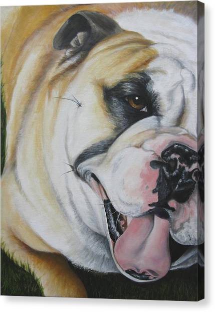 English Bull Dogs Canvas Print - Let's Play by Debbie Finley