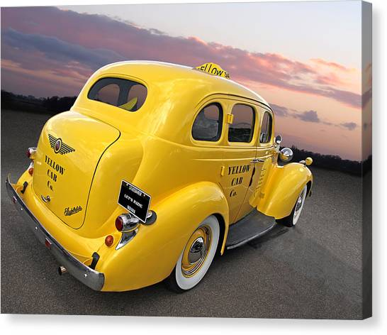 Prairie Sunsets Canvas Print - Let's Ride - Studebaker Yellow Cab by Gill Billington