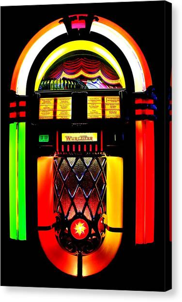 Jukebox Canvas Print - Let's Rock by Benjamin Yeager