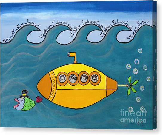 Submarine Canvas Print - Lets Sing The Chorus Now - The Beatles Yellow Submarine by Ella Kaye Dickey