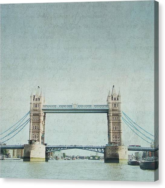 Letters From Tower Bridge - London Canvas Print