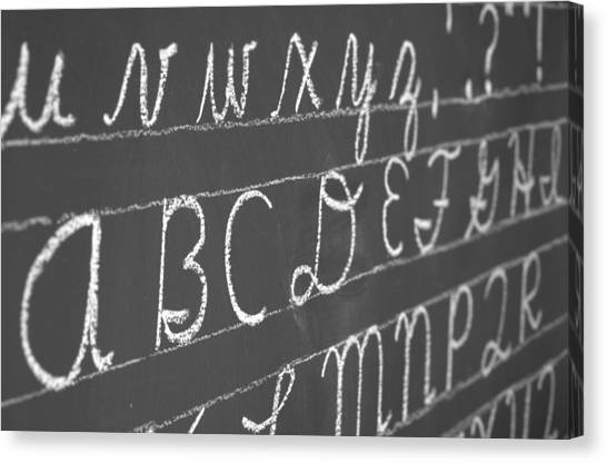Letters On A Chalkboard Canvas Print
