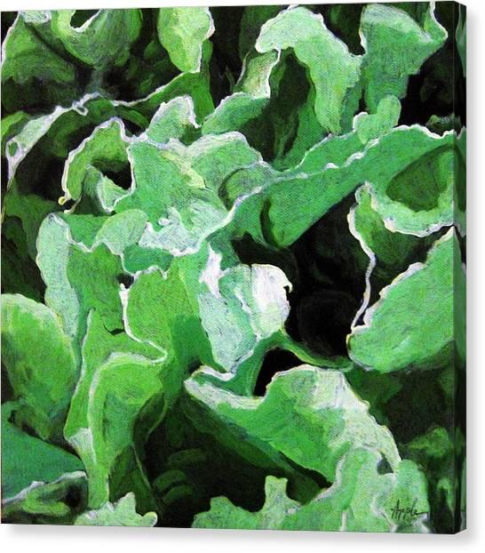 Lettuce Go Green - Food Art Canvas Print by Linda Apple