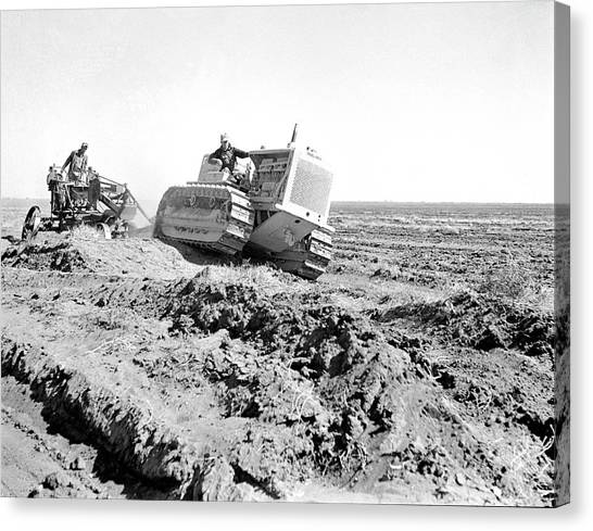 Bulldozers Canvas Print - Levelling Farm Fields by Library Of Congress