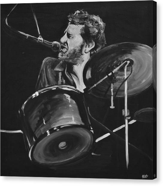 Percussion Instruments Canvas Print - Levon Helm At Drums by Melissa O'Brien