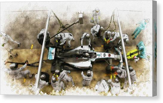 Lewis Hamilton Of Britain Service The Car At Pit Stop Canvas Print