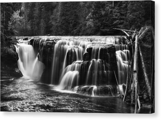 Lewis River Lower Falls Black And White Canvas Print