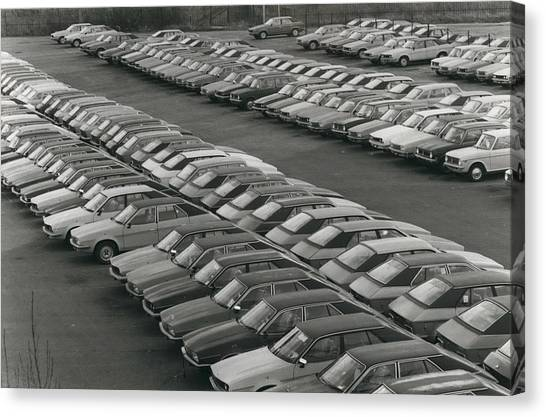 Leyland Cars Stockpiled As Sales Slump Canvas Print by Retro Images Archive