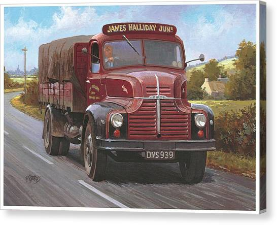 Country Roads Canvas Print - Leyland Comet 1948 by Mike Jeffries