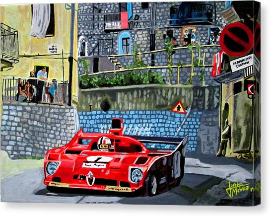 Alfa Romeo 33tt12 Nino Vaccarella.targa Florio 1975 Canvas Print by Jose Mendez