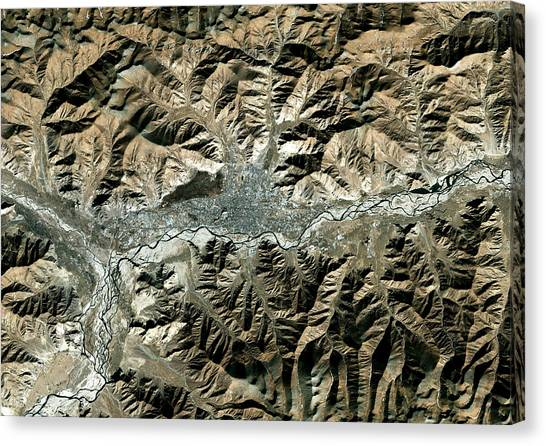 Himalayas Canvas Print - Lhassa by Planetobserver/science Photo Library
