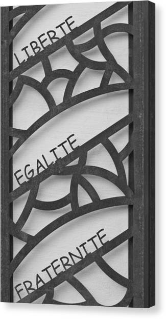 Liberte Canvas Print - Liberte Egalite Fraternite In Black And White by Georgia Fowler