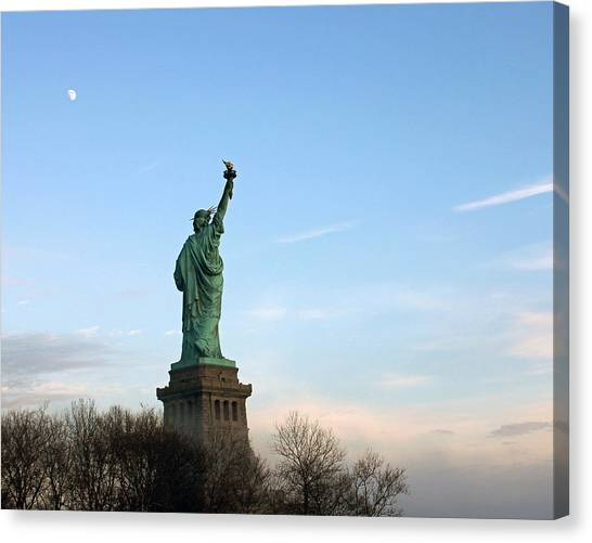 Liberty And Moon Canvas Print