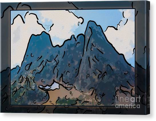 Canvas Print featuring the painting Liberty Bell Mountain Abstract Landscape Painting by Omaste Witkowski