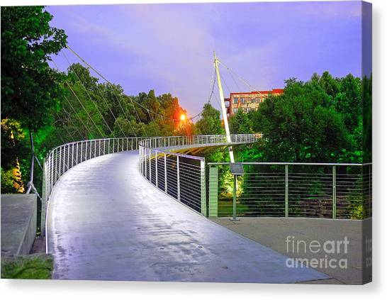 Liberty Bridge In Downtown Greenville Sc At Sunrise Canvas Print