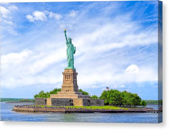 Canvas Print featuring the photograph Liberty Enlightening The World - New York City by Mark E Tisdale