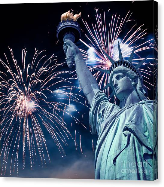 Fireworks Canvas Print - Liberty Fireworks by Delphimages Photo Creations
