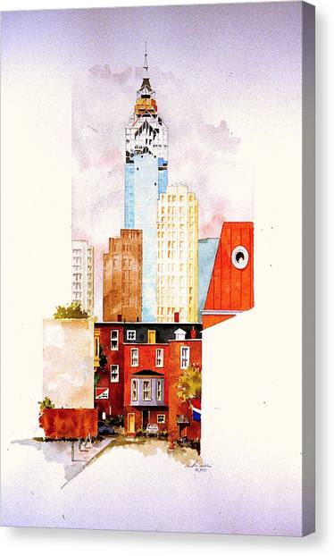 Liberty Place In Progress Canvas Print by William Renzulli