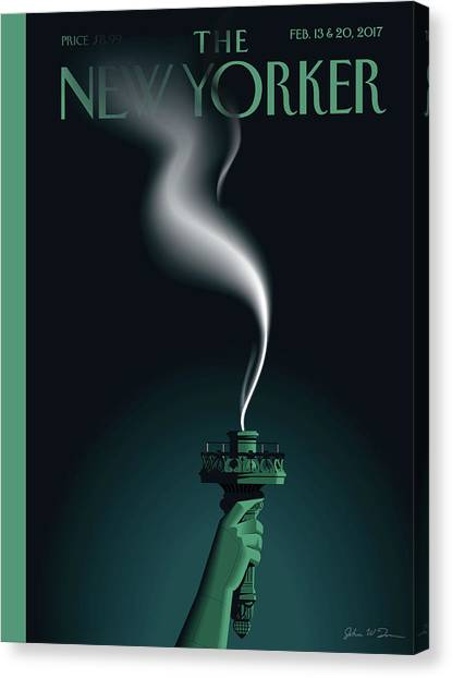 Statue Canvas Print - Liberty's Flameout by John W Tomac