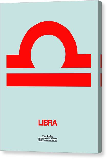 Canvas Print - Libra Zodiac Sign Red by Naxart Studio