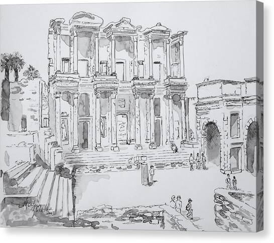 Library At Ephesus Canvas Print