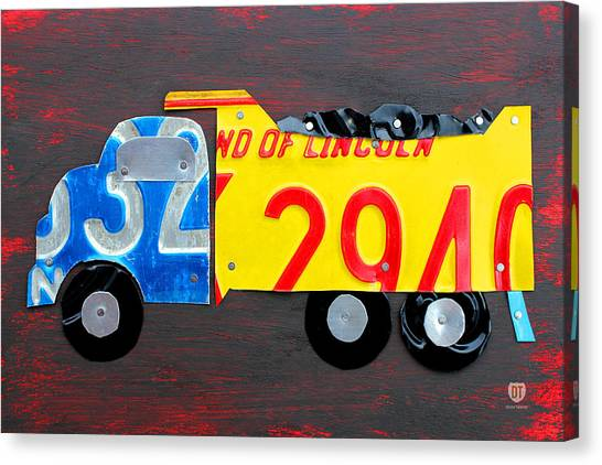 Dump Trucks Canvas Print - License Plate Art Dump Truck by Design Turnpike