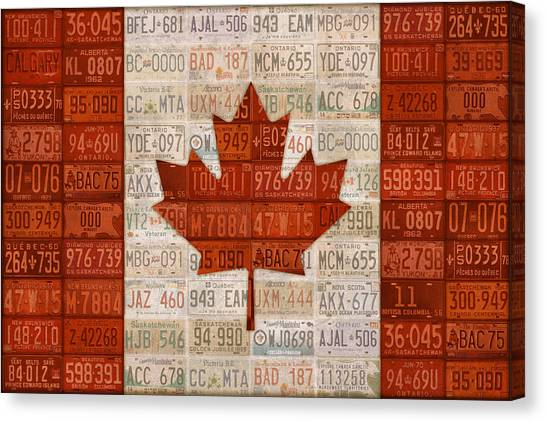 Maple Leaf Art Canvas Print - License Plate Art Flag Of Canada by Design Turnpike