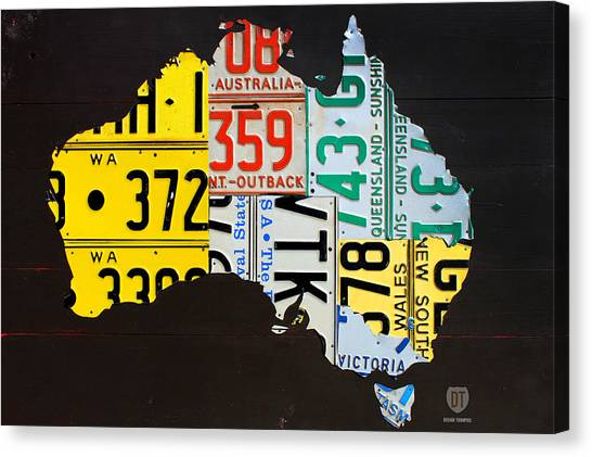 Canberra Canvas Print - License Plate Map Of Australia by Design Turnpike