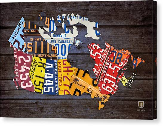 Toronto Maple Leafs Canvas Print - License Plate Map Of Canada by Design Turnpike