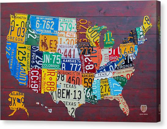 Michigan Canvas Print - License Plate Map Of The United States by Design Turnpike