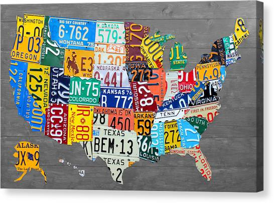 Map Canvas Print - License Plate Map Of The United States On Gray Wood Boards by Design Turnpike