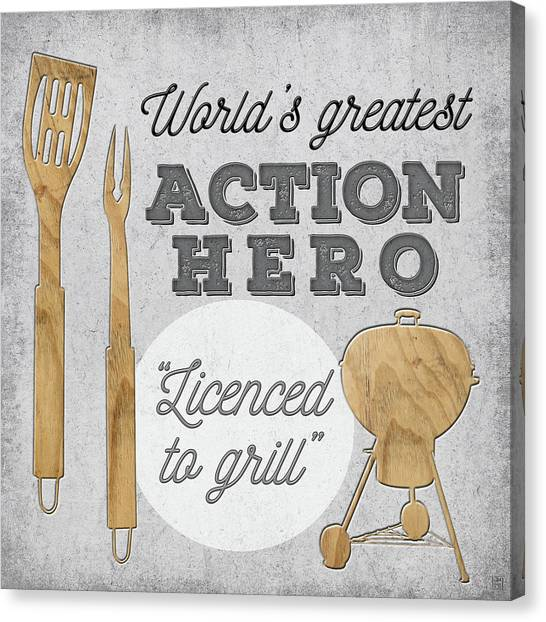 Grandpa Canvas Print - Licensed To Grill by Aubree Perrenoud