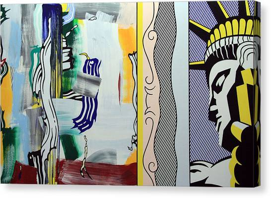 Lichtenstein's Painting With Statue Of Liberty Canvas Print