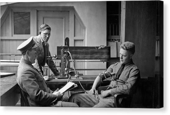Police Officers Canvas Print - Lie Detector Test by Underwood Archives