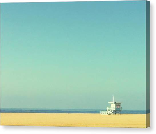 Sky Canvas Print - Life Guard Tower by Denise Taylor