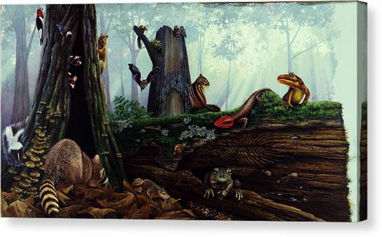 Timber Rattlesnakes Canvas Print - Life In A Dead Tree by Chase Studio