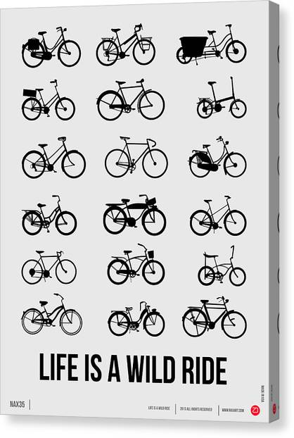 Comical Canvas Print - Life Is A Wild Ride Poster 1 by Naxart Studio