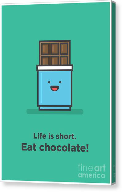 Happy Canvas Print - Life Is Short. Eat Chocolate Line Art by Orange Vectors