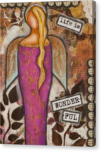 Life Is Wonderful Inspirational Mixed Media Folk Art Canvas Print