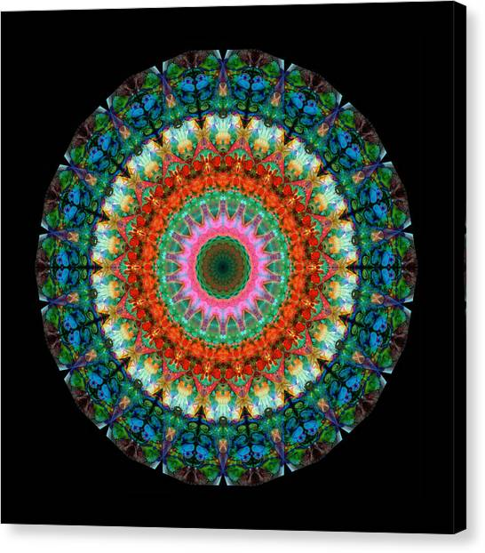 Om Canvas Print - Life Joy - Mandala Art By Sharon Cummings by Sharon Cummings