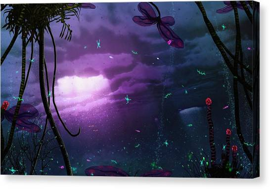 Satellite Canvas Print - Life On An Ice Moon by Mark Garlick